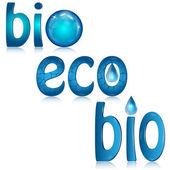 Set di loghi blasonate sull'ecologia delle gocce d'acqua — Vettoriale Stock