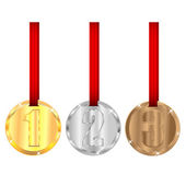 Set of medals with red ribbons isolated on white background — Stock Vector