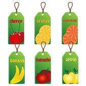 Conjunto de etiquetas com frutas e legumes em um fundo branco — Vetor de Stock