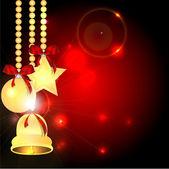 Fondo de navidad con adornos navideños — Vector de stock