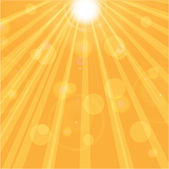 Orange sunny background.sun rays and glare on an orange backgrou — Stock Vector