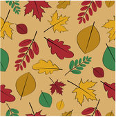 Seamless pattern from autumn leaves.yellow and red autumn leaves — Stock Vector