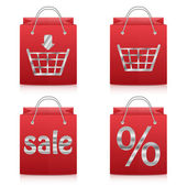 Paper shopping bags in red isolated on white background.set of s — Stock Vector