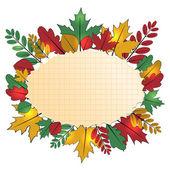 Pozadí s podzimním listím a list papíru do cell.aut — Stock vektor