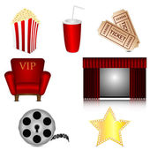 Set of subjects for cinema isolated on white background.cinema i — Vecteur