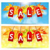 Word sale on red labels decorated with autumn maple leaves.set o — Stock Vector