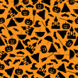 Seamless pattern.halloween background.halloween black symbols on — ベクター素材ストック