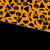 Halloween background.halloween zwarte symbolen op een oranje backgr — Stockvector