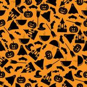 Seamless pattern.halloween background.halloween black symbols on — Stock Vector