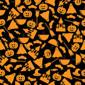 Seamless pattern.halloween background.halloween orange symbols — Stock Vector