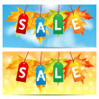Vector de stock : Word sale on party-colored labels decorated with autumn maple l
