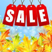 Verkauf von im Herbst vor dem Hintergrund der gelben Karte — Stockvektor