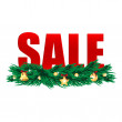 Word sale decorated branches of christmas tree.christmas backgro — Vector de stock #30877597