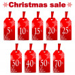 Seasonal Christmas sale.set of red price tags with percent disco — Stock Vector #31074097