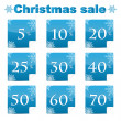 Seasonal christmas sale.set of blue discount stickers with perce — Vektorgrafik