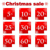 Seasonal christmas sale.set of red discount stickers with percen — Stock Vector
