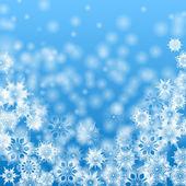 Mavi background.christmas background.vecto üzerinde beyaz kar taneleri — Stok Vektör