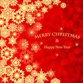 クリスマス background.golden 雪片赤 background.vecto — ストックベクタ