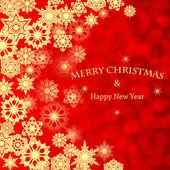 Copos de nieve background.golden de navidad en un background.vecto rojo — Vector de stock