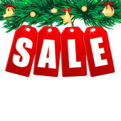 Word sale on red labels decorated with christmas tree branches.s — Stock Vector