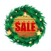 Ordet försäljning på brädor inom ramen för den jul dekoration — Stockvektor