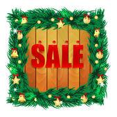 Slovo prodej na dřevěných desek v rámci vánoční decora — Stock vektor