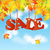 Seasonal autumn sale.word sale autumn maple leaves against the b — Stock Vector