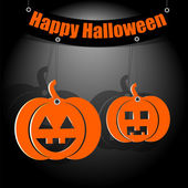 Halloween background.two pumpkin orange on a dark background.dec — Stock Vector