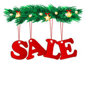 Word sale decorated with christmas tree branches.seasonal chris — Stock Vector