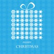 Christmas background.Gift box made of white snowflakes on a blue — Stock Vector
