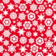 Stock Vector: Seamless pattern with red snowflakes on white background.win