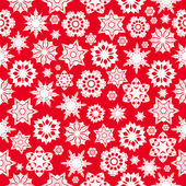 Seamless pattern with red snowflakes on a white background.win — Stock Vector