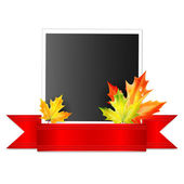 Photo with a red ribbon and autumn maple leaves isolated on whit — Stock Vector