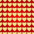 Seamless pattern of gold hearts on a red background.background f — Stock Vector
