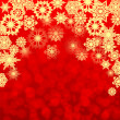 Christmas background.golden snowflakes on a red background.backg — Stok Vektör