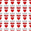Seamless pattern of red lips and hearts on a white background.ba — Stockvektor