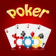 Stock Vector: Playing cards and poker chips on red background.casino backgr