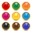 Set multicolored glass buttons in a gold frame.colorful buttons — Stock Vector