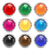 Set multicolored glass buttons in a silver frame.colorful button — Stock Vector