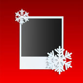 Christmas background.photo on a red background decorated with wh — Vector de stock