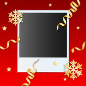 Christmas background.photo on a red background decorated with go — Stock Vector