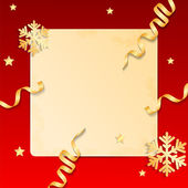 Christmas background.sheet of paper on a red background decorate — Stock vektor