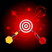 Darts on red glittering background.target and darts.neon effect. — Stock Vector
