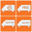 Stockvector : Icons delivery.white cars out of paper on orange background.tran