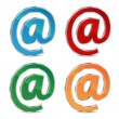 Vector de stock : E-mail icon set isolated on white background.colored icons ema