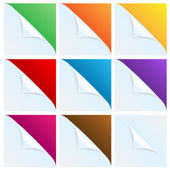 Set of angles of white paper with a colored background.white cor — Stock Vector