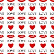 Seamless pattern of red lips and hearts on a white background.ba — Vecteur