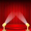 Постер, плакат: Theatrical background scene and red curtains scene illuminated f