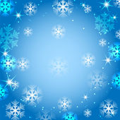 White and blue snowflakes on a blue background.christmas backgro — Vecteur