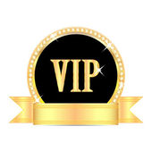 Medal with the word vip and golden ribbon isolated on white back — Stock Vector
